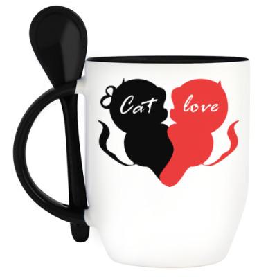 Кружка с ложкой Cat Love