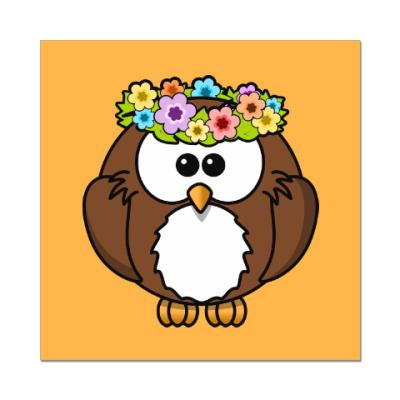 Наклейка (стикер) Сова с цветами