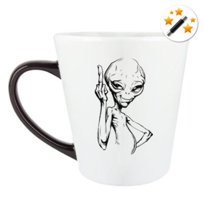 Кружка-хамелеон смешной пришелец (funny alien)