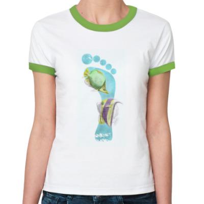 Женская футболка Ringer-T Footprints/След на песке