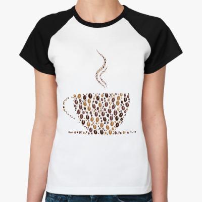 Женская футболка реглан Кофе из кофейных зерен