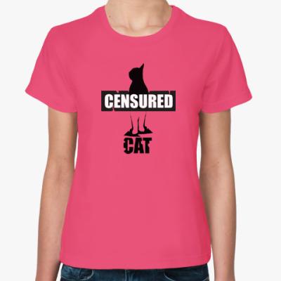 Женская футболка Кот Цензор