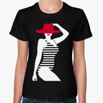 Женская футболка Дама в шляпе