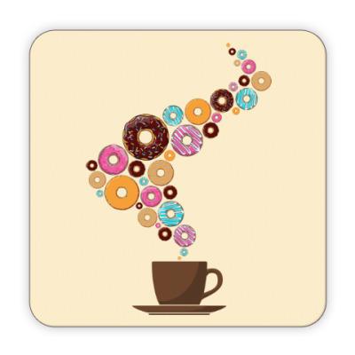 Костер (подставка под кружку) Кофе с пончиками