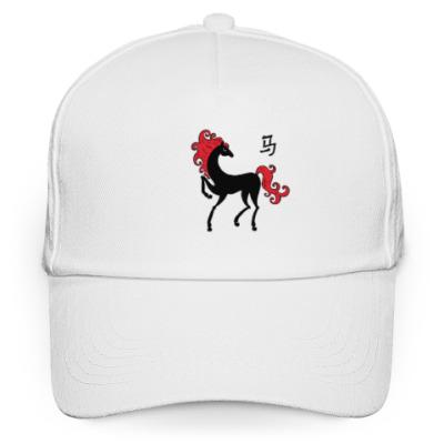 Кепка бейсболка Чёрная лошадь с красной гривой