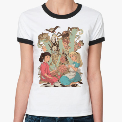 Женская футболка Ringer-T Wonderland Alice and Chihiro