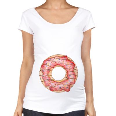 Футболка для беременных сладкая иллюстрация с пончиком