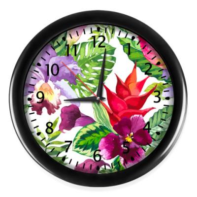 Настенные часы Tropical flowers