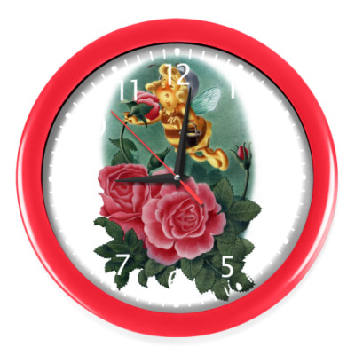 Настенные часы Пчёлка нюхает розу