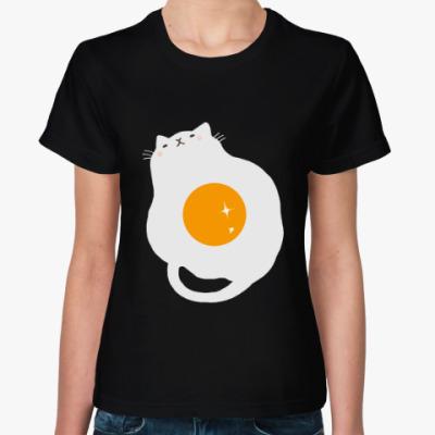Женская футболка Кот-яичница