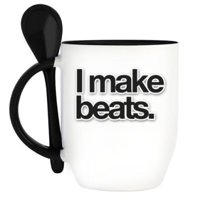 Кружка с ложкой 'I Make Beats'