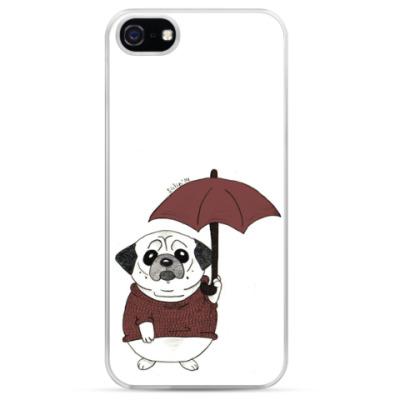 Чехол для iPhone Мопс с зонтиком