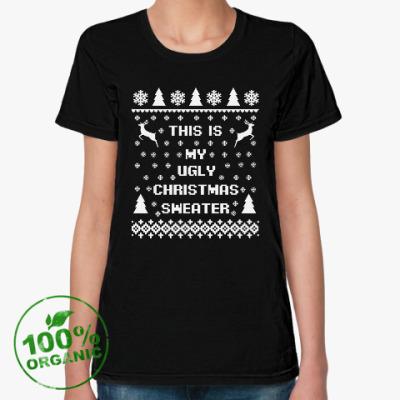 Женская футболка из органик-хлопка Страшный новогодний свитер