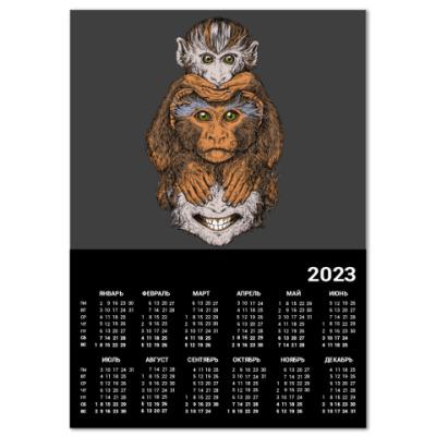 Календарь Три обезьяны символ года