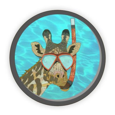 Костер (подставка под кружку) Жираф в иллюминаторе