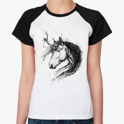 Женская футболка реглан Лохматый Единорог