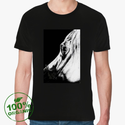 Футболка из органик-хлопка черно-белая лошадь