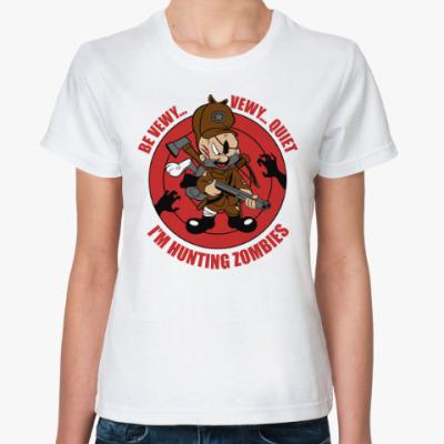 Классическая футболка Be quiet . I'm hunting zombies