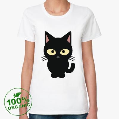 Женская футболка из органик-хлопка Черный Котик