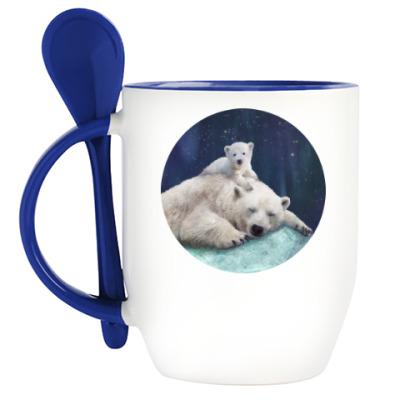 Кружка с ложкой Полярные белые медведи