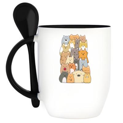 Кружка с ложкой Смешные коты (funny cats)