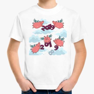 Детская футболка Новогодние Свинки 2019