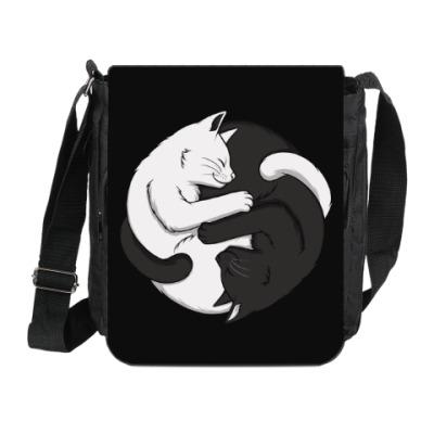 Сумка на плечо (мини-планшет) Черный и белый кот инь-ян