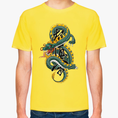 Футболка дракон и иероглиф карате Кекусинкай