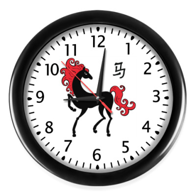 Настенные часы Чёрная лошадь с красной гривой