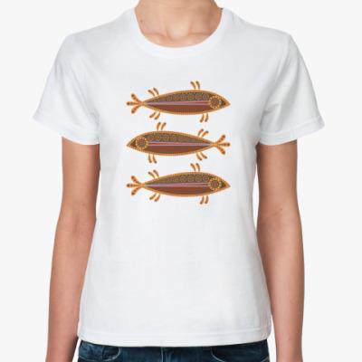 Классическая футболка Три рыбы в этностиле