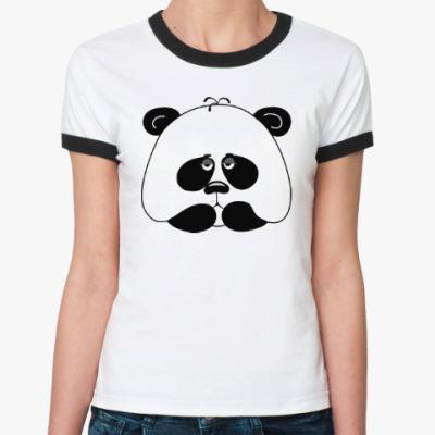 Женская футболка Ringer-T Грустная панда