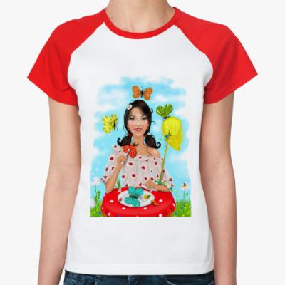 Женская футболка реглан Бабочки в моём животе