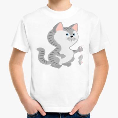 Детская футболка Кот поймал мышь