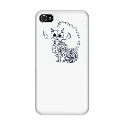 Чехол для iPhone 4/4s стимпанк-кот