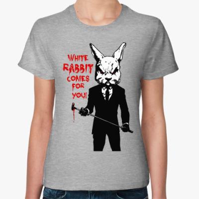 Женская футболка White Rabbit Comes For You !