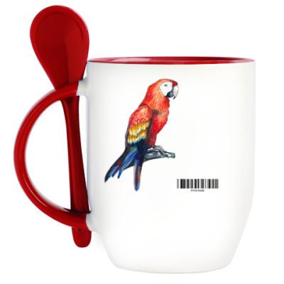 Кружка с ложкой попугай
