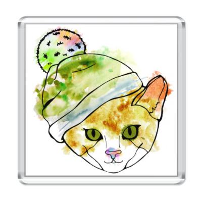 Магнит Кот в шапке