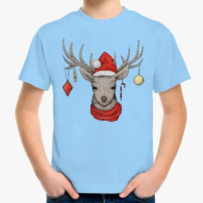 Детская футболка Новогодний олененок Рудольф
