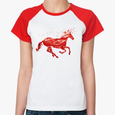Женская футболка реглан Рубиновый Единорог