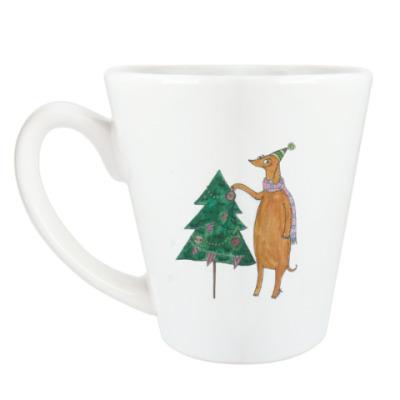 Чашка Латте Новогодняя такса