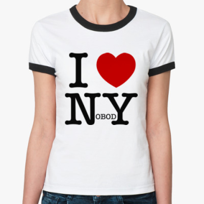 Женская футболка Ringer-T I love nobody