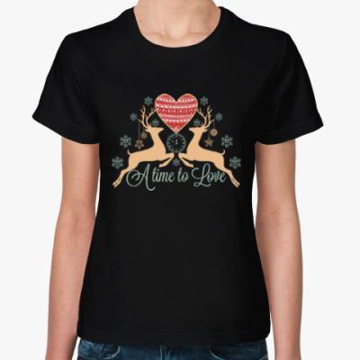 Женская футболка Олени. Любовь. Новый год.