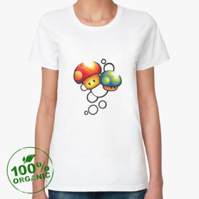 Женская футболка из органик-хлопка Mario Mushrooms