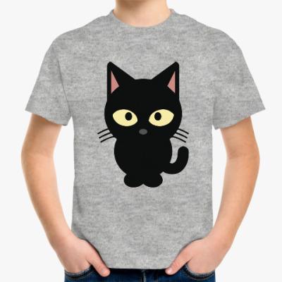 Детская футболка Черный Котик
