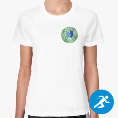 Женская спортивная футболка Два попугая