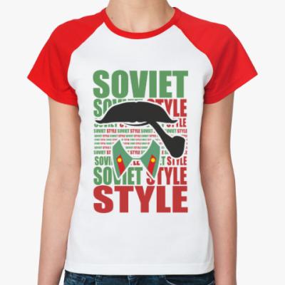 Женская футболка реглан Soviet Style. Усы. Сталин.