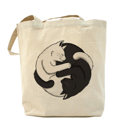 Сумка Черный и белый кот инь-ян