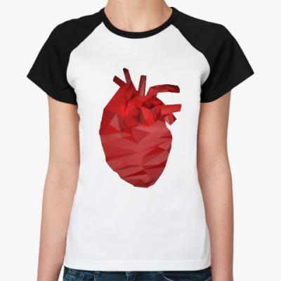 Женская футболка реглан Сердце 3D