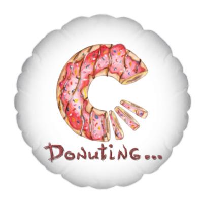 Подушка сладкая иллюстрация с пончиком