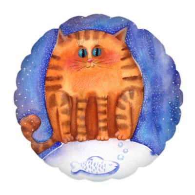 Подушка акварельные пушистые коты